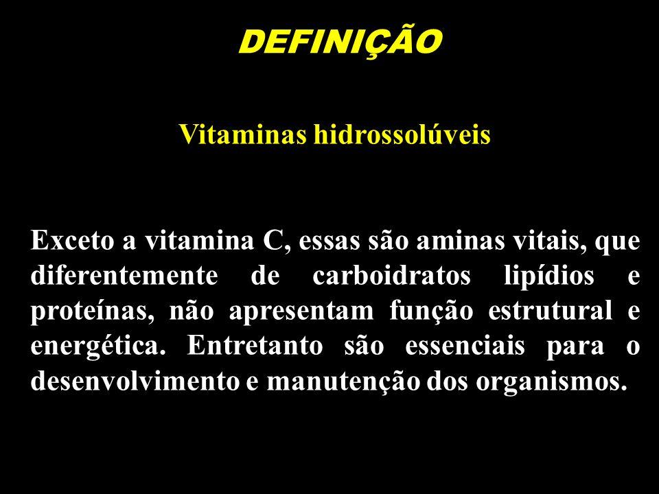 DEFINIÇÃO Vitaminas hidrossolúveis Exceto a vitamina C, essas são aminas vitais, que diferentemente de carboidratos lipídios e proteínas, não apresent