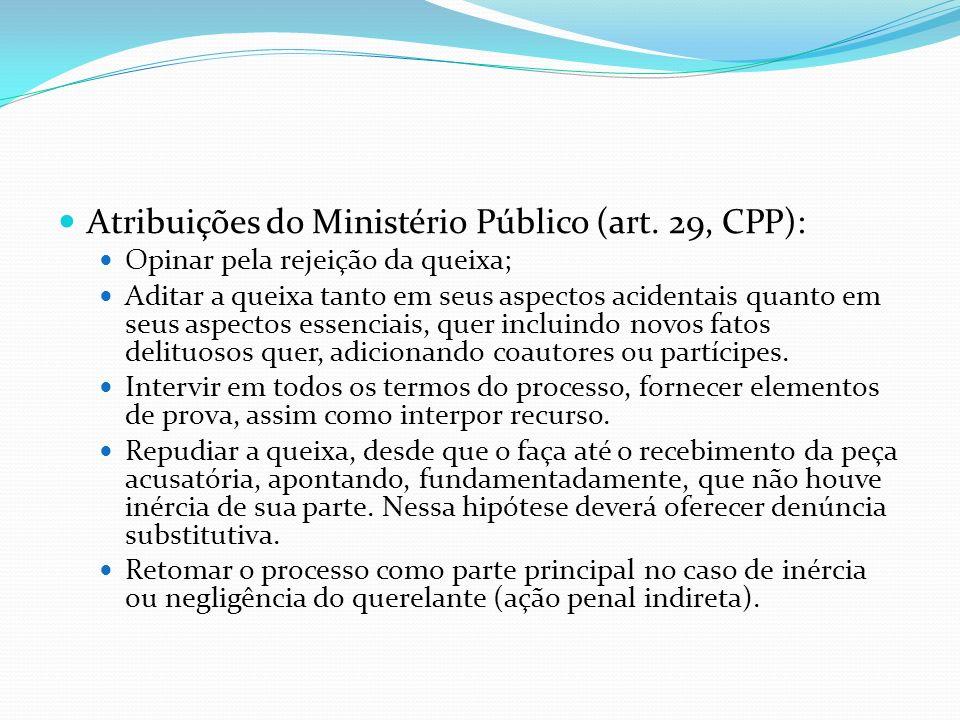 Atribuições do Ministério Público (art. 29, CPP): Opinar pela rejeição da queixa; Aditar a queixa tanto em seus aspectos acidentais quanto em seus asp