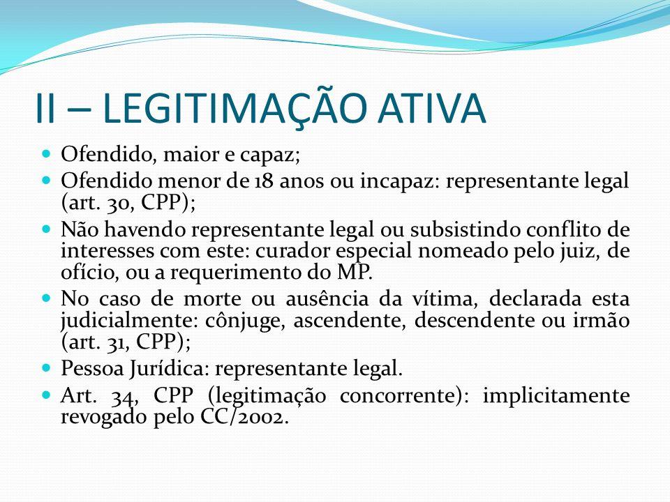 II – LEGITIMAÇÃO ATIVA Ofendido, maior e capaz; Ofendido menor de 18 anos ou incapaz: representante legal (art. 30, CPP); Não havendo representante le