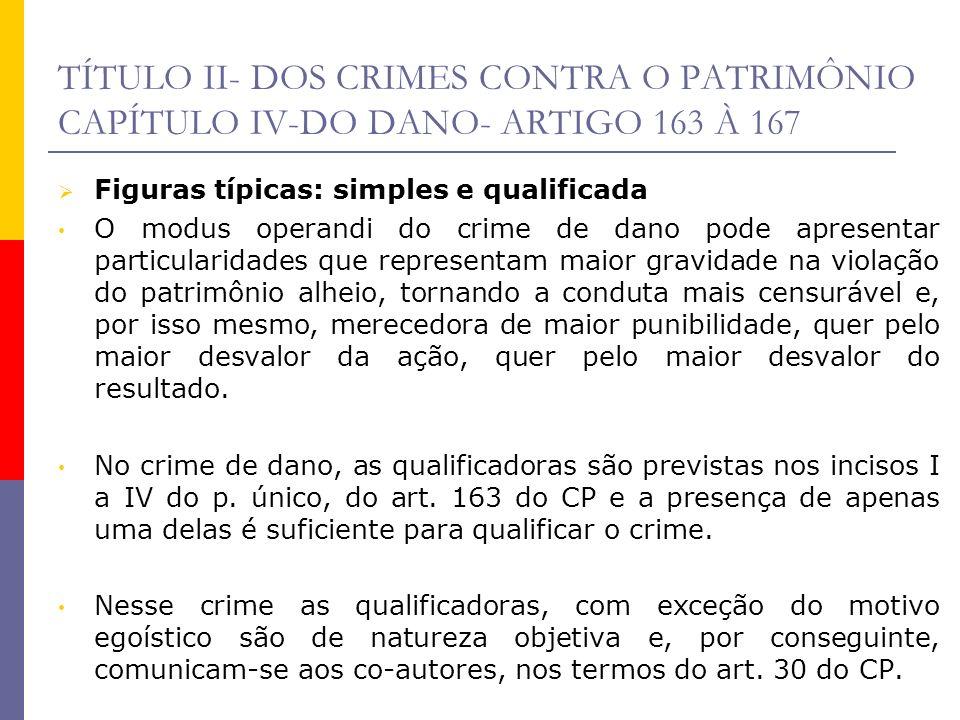 TÍTULO II- DOS CRIMES CONTRA O PATRIMÔNIO CAPÍTULO IV-DO DANO- ARTIGO 163 À 167 Figuras típicas: simples e qualificada O modus operandi do crime de da