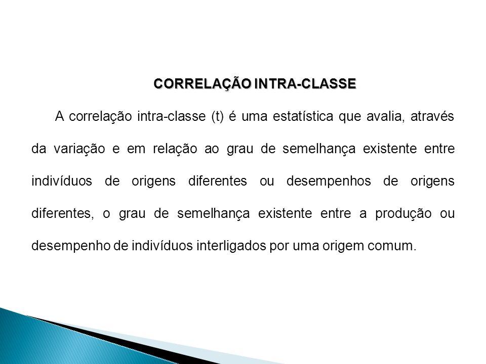 CORRELAÇÃO INTRA-CLASSE A correlação intra-classe (t) é uma estatística que avalia, através da variação e em relação ao grau de semelhança existente e