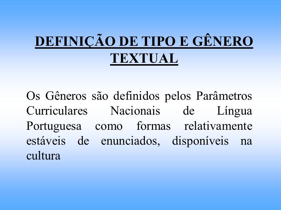 DEFINIÇÃO DE TIPO E GÊNERO TEXTUAL Os Gêneros são definidos pelos Parâmetros Curriculares Nacionais de Língua Portuguesa como formas relativamente est