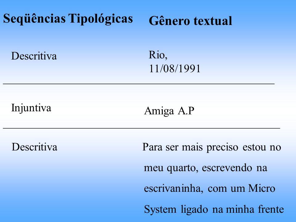 Seqüências Tipológicas Gênero textual Descritiva Rio, 11/08/1991 _______________________________________________ Injuntiva Amiga A.P _________________