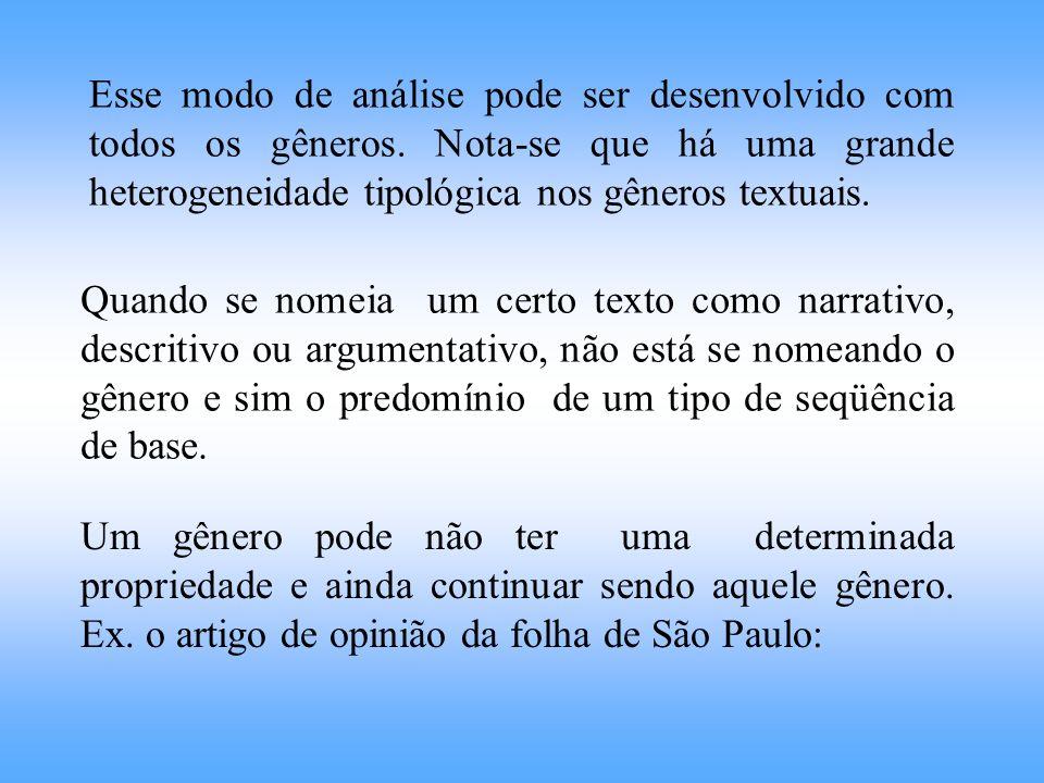 Um gênero pode não ter uma determinada propriedade e ainda continuar sendo aquele gênero. Ex. o artigo de opinião da folha de São Paulo: Esse modo de