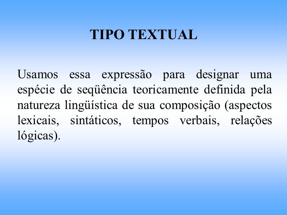 PARALELO TIPOS TEXTUAIS 1 Constructos teóricos definidos por propriedades lingüísticas intrínsecas.