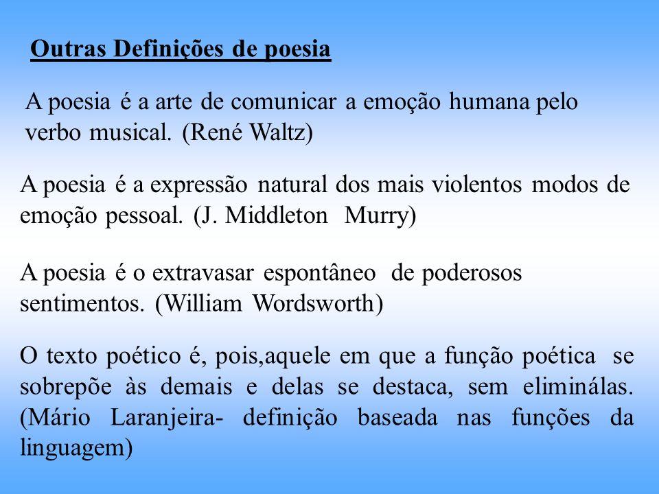 Outras Definições de poesia A poesia é a arte de comunicar a emoção humana pelo verbo musical. (René Waltz) A poesia é a expressão natural dos mais vi