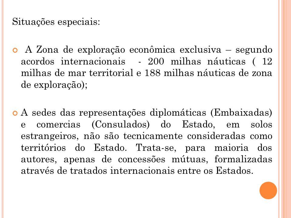 Situações especiais: A Zona de exploração econômica exclusiva – segundo acordos internacionais - 200 milhas náuticas ( 12 milhas de mar territorial e