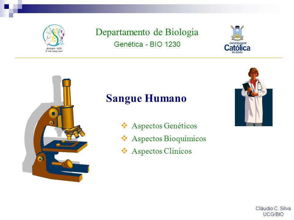 Departamento de Biologia Genética - BIO 1230 Cláudio C. Silva UCG/BIO Sangue Humano Aspectos Genéticos Aspectos Bioquímicos Aspectos Clínicos