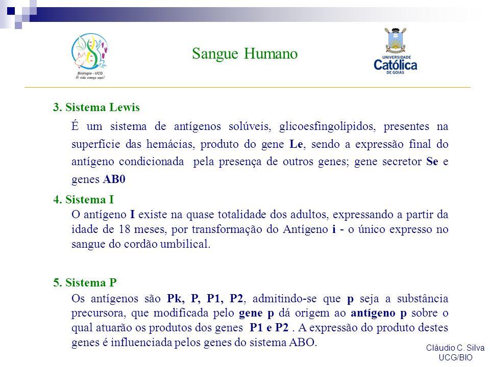 Sangue Humano Cláudio C. Silva UCG/BIO 3. Sistema Lewis É um sistema de antígenos solúveis, glicoesfingolípidos, presentes na superfície das hemácias,