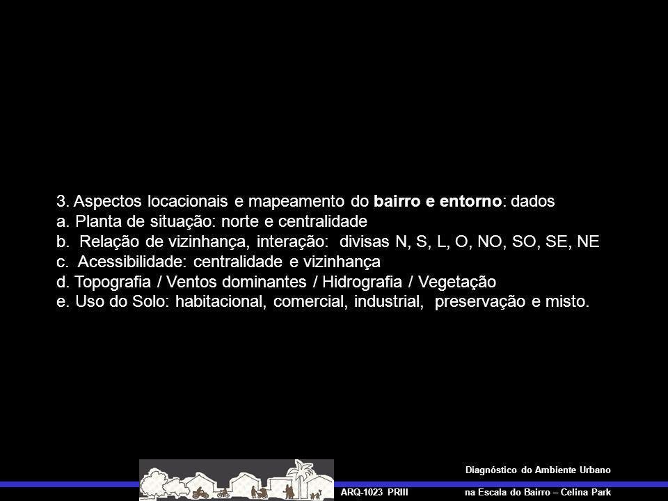ARQ-1023 PRIII Diagnóstico do Ambiente Urbano na Escala do Bairro – Celina Park 4.