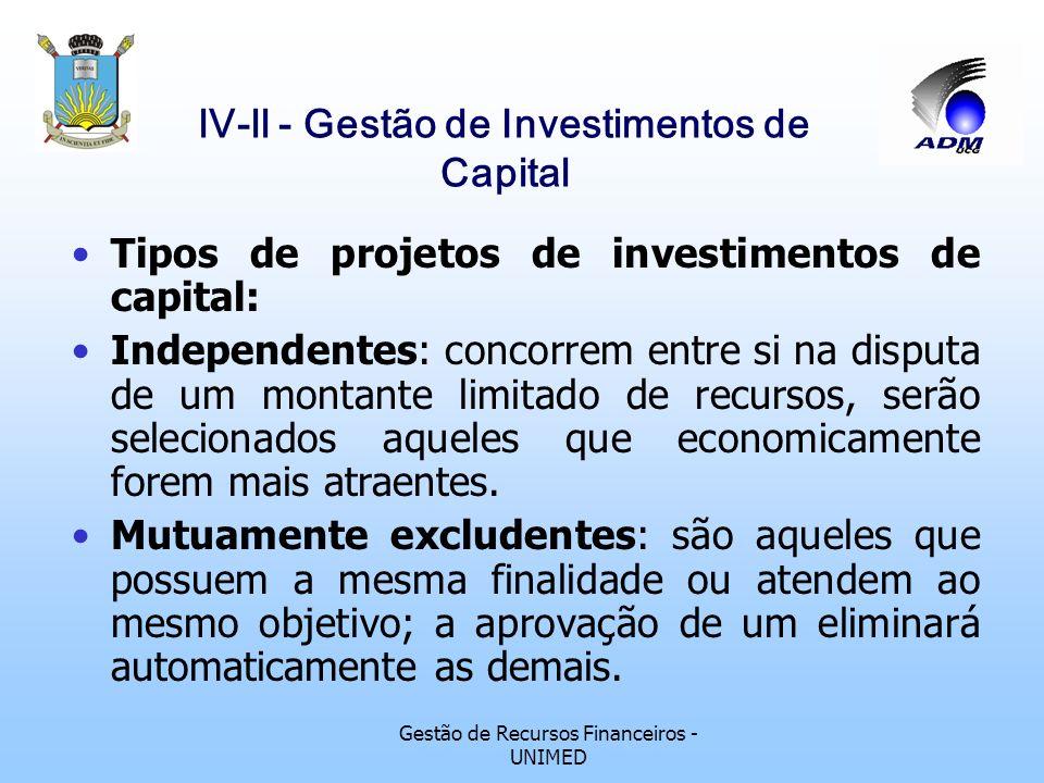 Gestão de Recursos Financeiros - UNIMED lV-ll - Gestão de Investimentos de Capital 2.4 - Objetivos do Investidor Objetivos econômicos e financeiros :