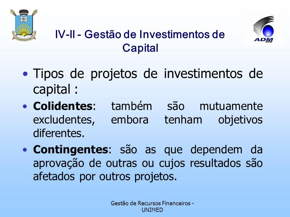 Gestão de Recursos Financeiros - UNIMED lV-ll - Gestão de Investimentos de Capital Tipos de projetos de investimentos de capital: Independentes: conco