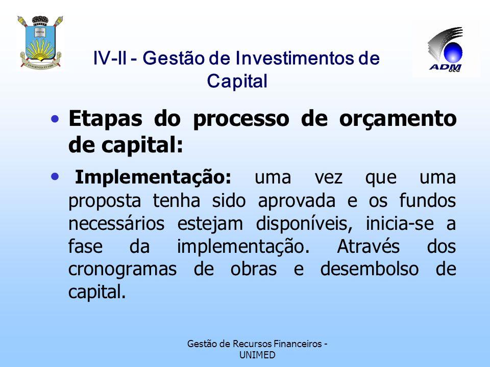 Gestão de Recursos Financeiros - UNIMED lV-ll - Gestão de Investimentos de Capital Etapas do processo de orçamento de capital: Tomada de decisão: o va