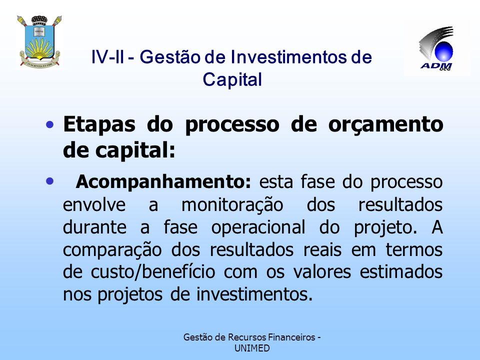 Gestão de Recursos Financeiros - UNIMED lV-ll - Gestão de Investimentos de Capital Etapas do processo de orçamento de capital: Implementação: uma vez