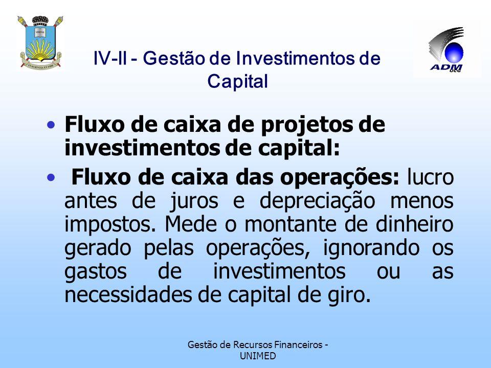 Gestão de Recursos Financeiros - UNIMED lV-ll - Gestão de Investimentos de Capital Fluxo de caixa de projetos de investimentos de capital: Fluxo de ca