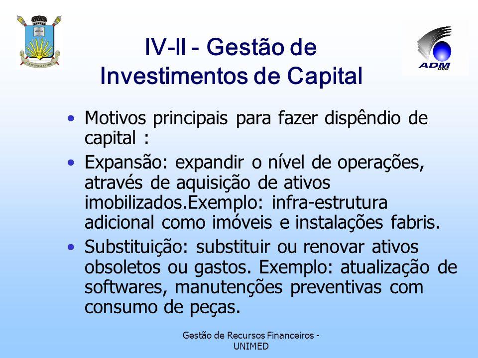 Gestão de Recursos Financeiros - UNIMED lV-ll - Gestão de Investimentos de Capital Motivos principais para fazer dispêndio de capital : Expansão: expandir o nível de operações, através de aquisição de ativos imobilizados.Exemplo: infra-estrutura adicional como imóveis e instalações fabris.