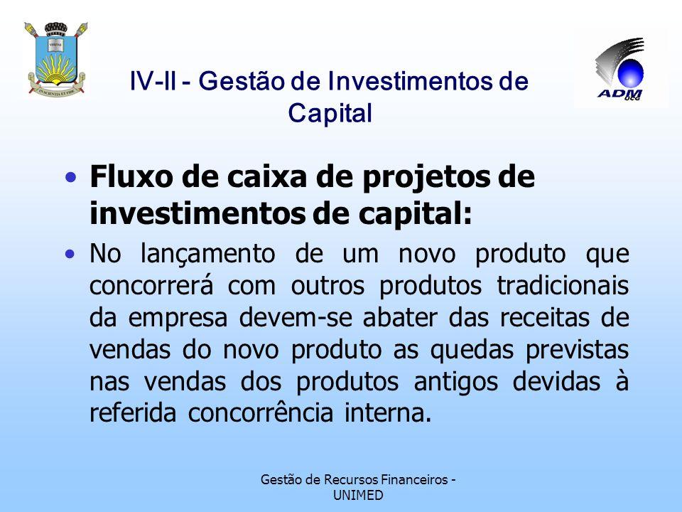 Gestão de Recursos Financeiros - UNIMED lV-ll - Gestão de Investimentos de Capital Fluxo de caixa de projetos de investimentos de capital: se a propos
