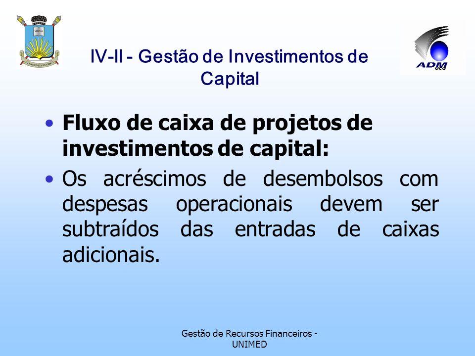 Gestão de Recursos Financeiros - UNIMED lV-ll - Gestão de Investimentos de Capital Fluxo de caixa de projetos de investimentos de capital: No lançamen