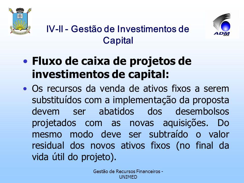 Gestão de Recursos Financeiros - UNIMED lV-ll - Gestão de Investimentos de Capital Fluxo de caixa de projetos de investimentos de capital: Os acréscim
