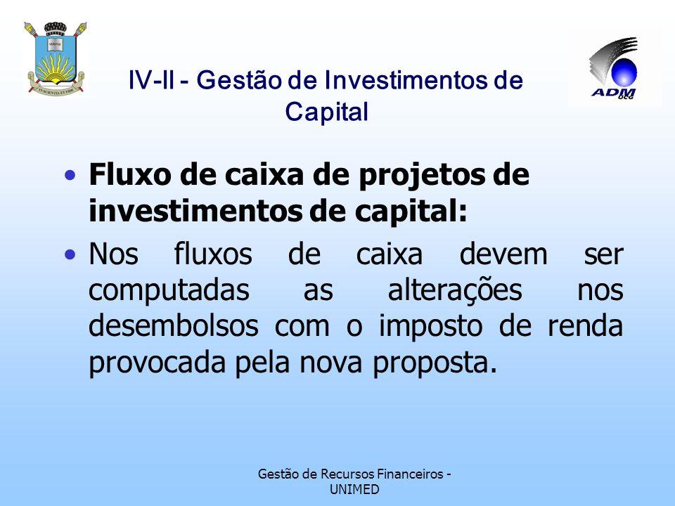 Gestão de Recursos Financeiros - UNIMED lV-ll - Gestão de Investimentos de Capital Fluxo de caixa de projetos de investimentos de capital: Os recursos