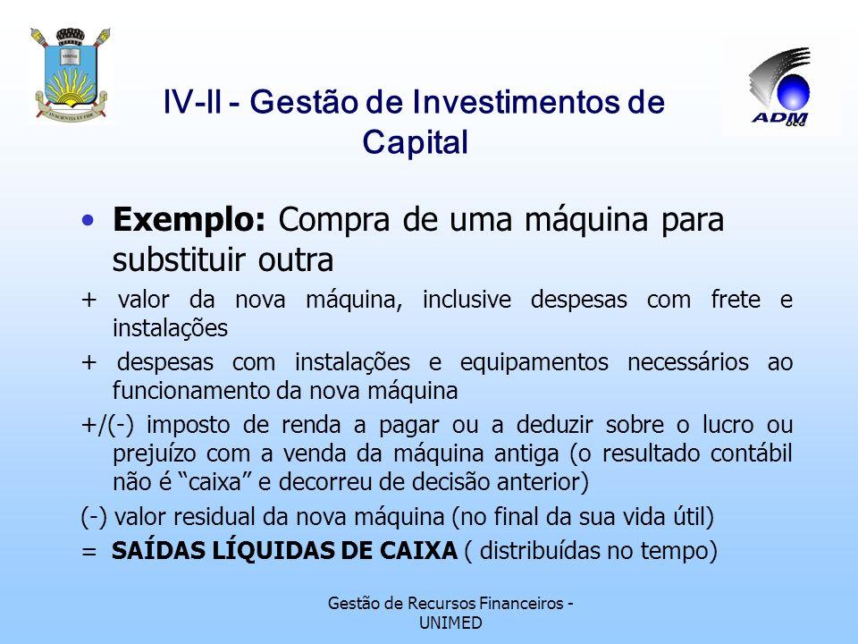 Gestão de Recursos Financeiros - UNIMED lV-ll - Gestão de Investimentos de Capital Fluxo de caixa de projetos de investimentos de capital: Nos fluxos
