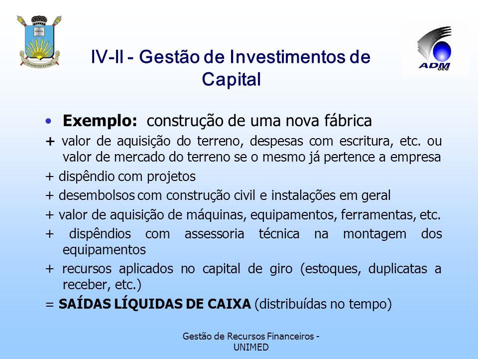 Gestão de Recursos Financeiros - UNIMED lV-ll - Gestão de Investimentos de Capital Exemplo: Compra de uma máquina para substituir outra + valor da nov
