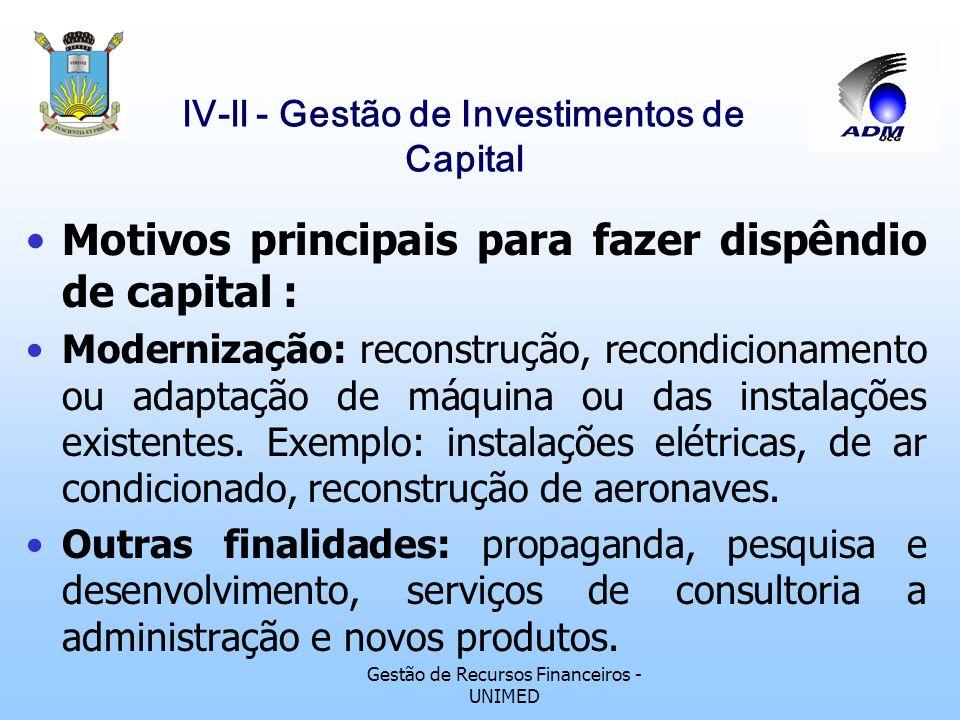 Gestão de Recursos Financeiros - UNIMED lV-ll - Gestão de Investimentos de Capital Motivos principais para fazer dispêndio de capital : Modernização: reconstrução, recondicionamento ou adaptação de máquina ou das instalações existentes.