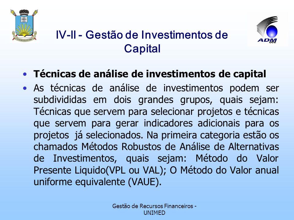 Gestão de Recursos Financeiros - UNIMED lV-ll - Gestão de Investimentos de Capital Técnicas de análise de investimentos de capital Um investimento, pa