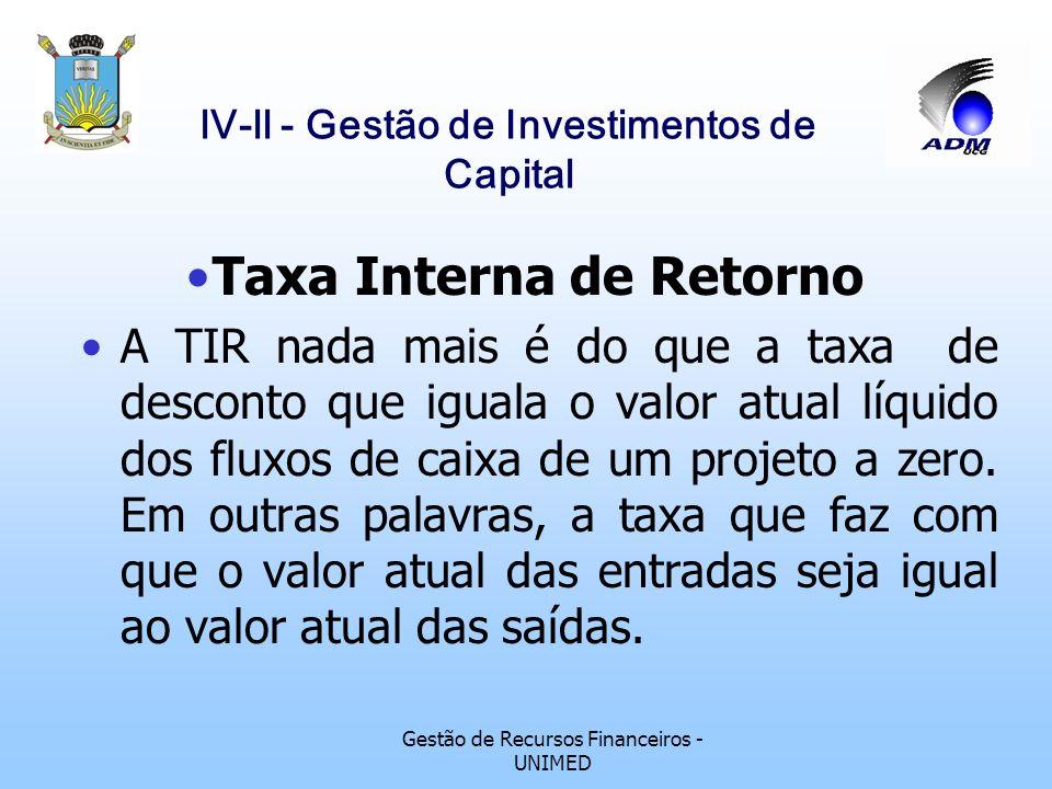 Gestão de Recursos Financeiros - UNIMED lV-ll - Gestão de Investimentos de Capital Índice de Lucratividade Este método adiciona ao cálculo do valor at