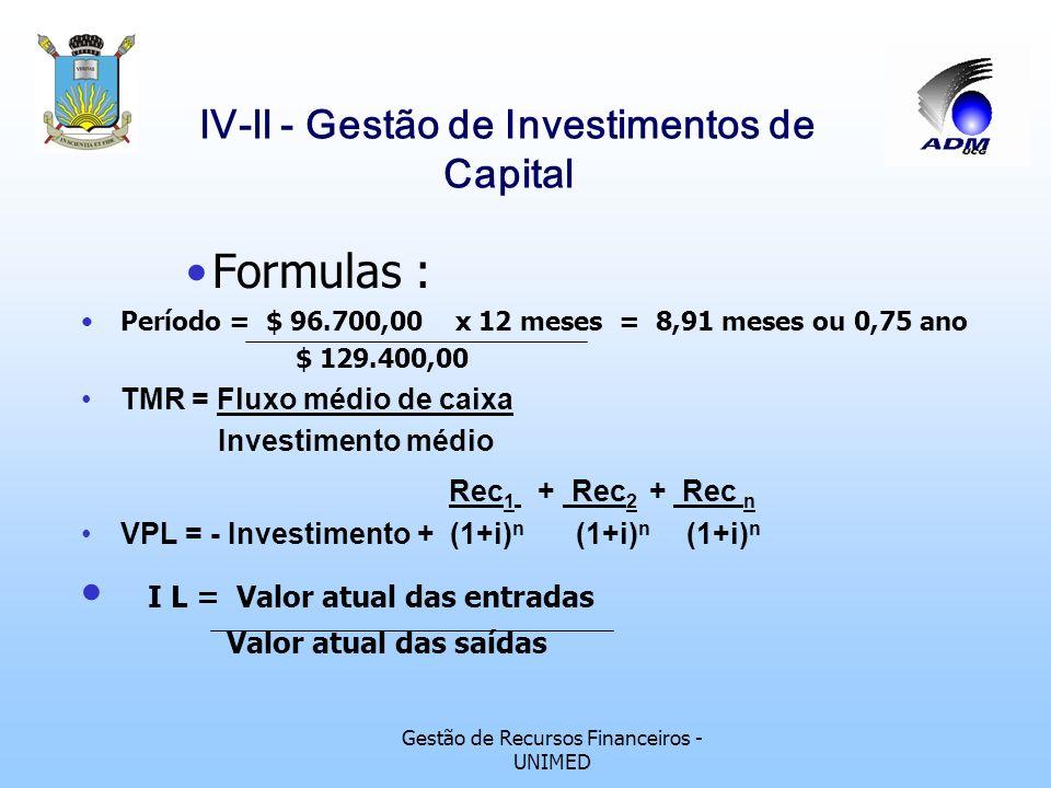 Gestão de Recursos Financeiros - UNIMED lV-ll - Gestão de Investimentos de Capital Taxa Interna de Retorno A TIR nada mais é do que a taxa de desconto