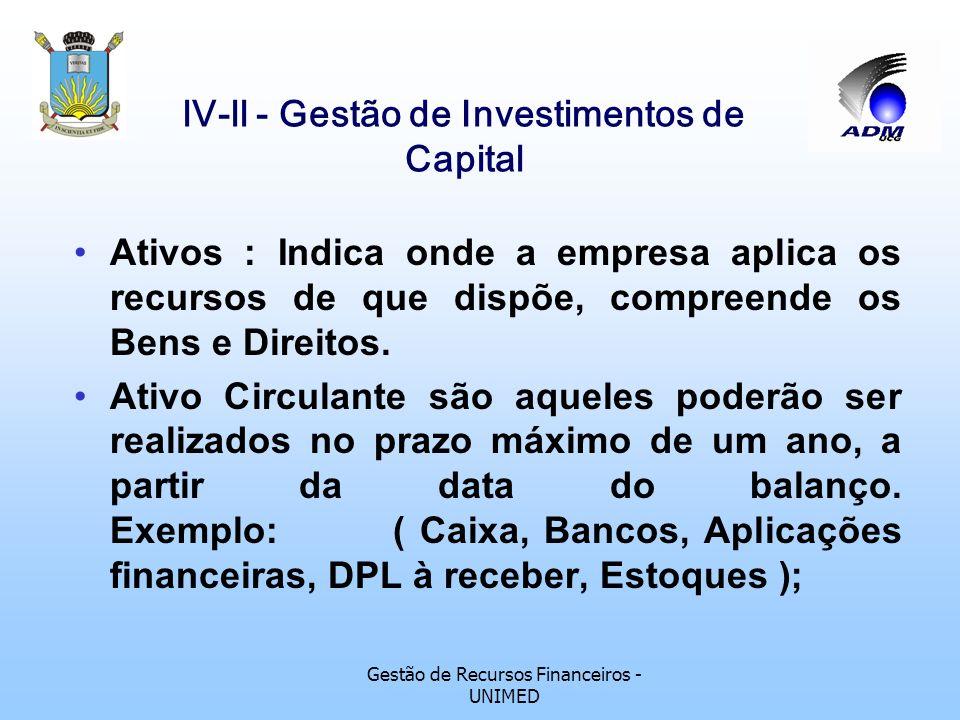 Gestão de Recursos Financeiros - UNIMED lV-ll - Gestão de Investimentos de Capital Ativos : Indica onde a empresa aplica os recursos de que dispõe, compreende os Bens e Direitos.