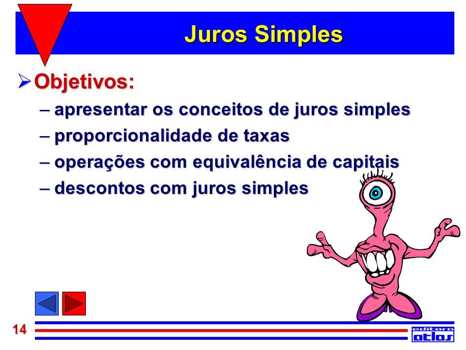 14 Juros Simples Objetivos: Objetivos: –apresentar os conceitos de juros simples –proporcionalidade de taxas –operações com equivalência de capitais –