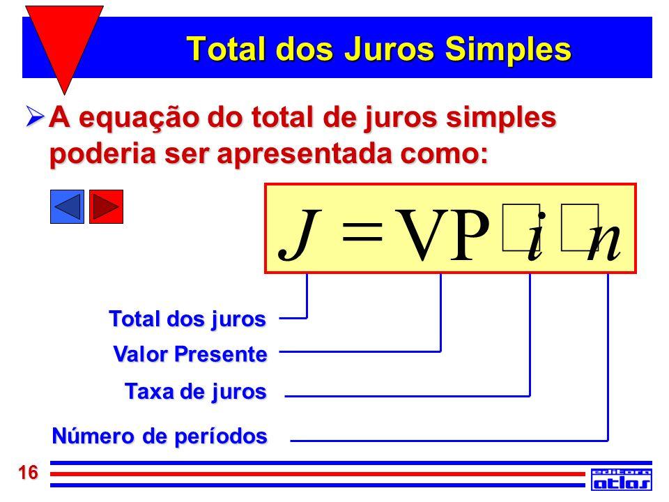 16 Total dos Juros Simples A equação do total de juros simples poderia ser apresentada como: A equação do total de juros simples poderia ser apresenta