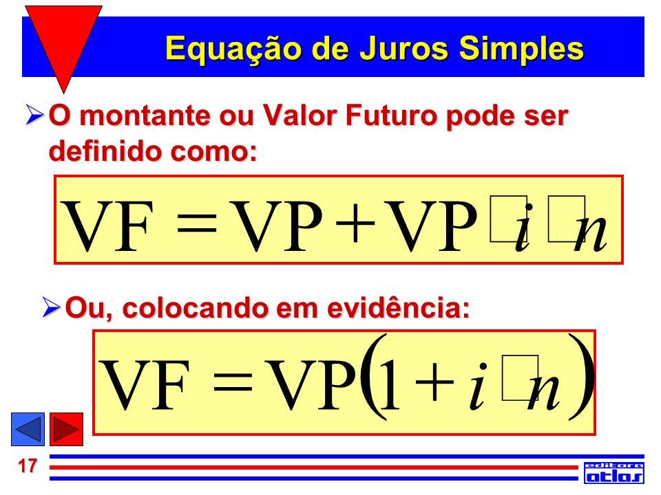 17 Equação de Juros Simples O montante ou Valor Futuro pode ser definido como: O montante ou Valor Futuro pode ser definido como: niVP VF Ou, colocand