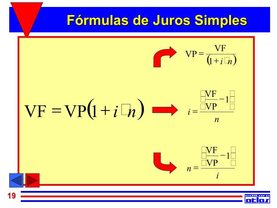 19 Juros Simples niVPVF 1 ni VF VP 1 n VP VF i 1 i VP VF n 1 Fórmulas de Juros Simples