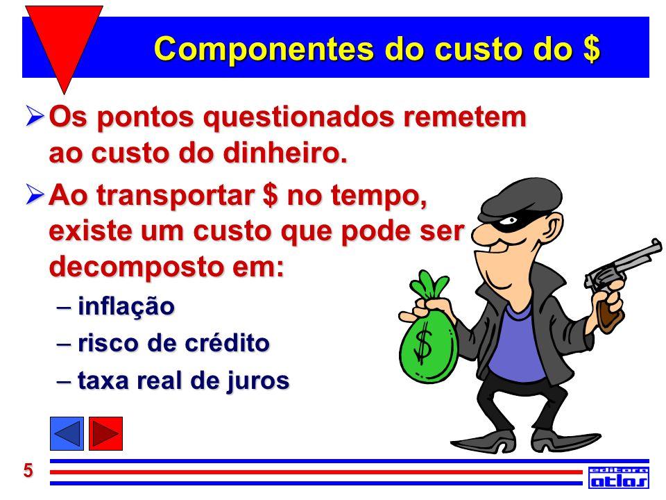 5 Componentes do custo do $ Os pontos questionados remetem ao custo do dinheiro. Os pontos questionados remetem ao custo do dinheiro. Ao transportar $
