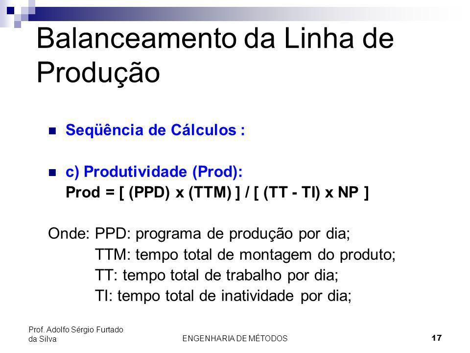 ENGENHARIA DE MÉTODOS17 Prof. Adolfo Sérgio Furtado da Silva Balanceamento da Linha de Produção Seqüência de Cálculos : c) Produtividade (Prod): Prod