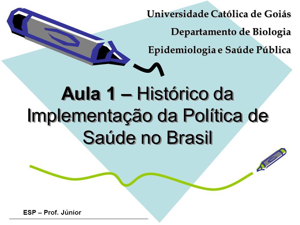 ESP – Prof. Júnior Aula 1 – Histórico da Implementação da Política de Saúde no Brasil Universidade Católica de Goiás Departamento de Biologia Epidemio