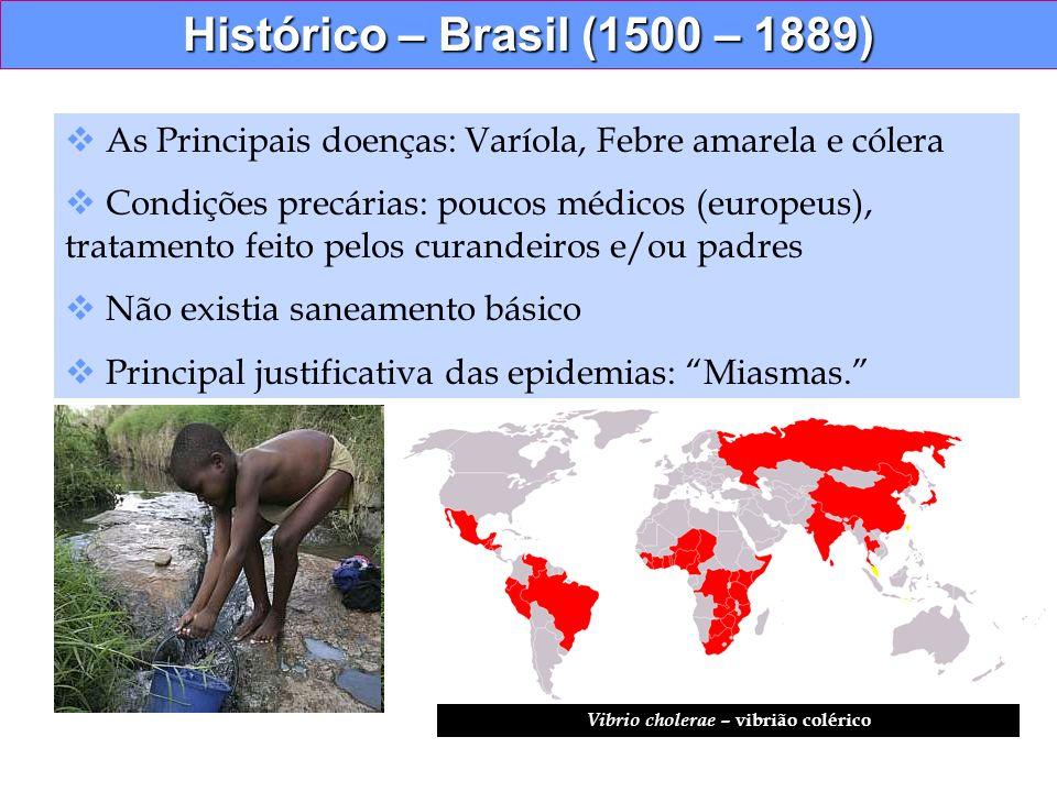 Histórico – Brasil (1500 – 1889) As Principais doenças: Varíola, Febre amarela e cólera Condições precárias: poucos médicos (europeus), tratamento fei