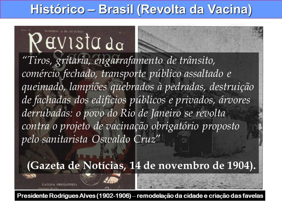 Histórico – Brasil (Revolta da Vacina) Presidente Rodrigues Alves (1902-1906) – remodela ç ão da cidade e cria ç ão das favelas Tiros, gritaria, engar