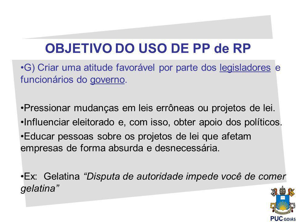 OBJETIVO DO USO DE PP de RP G) Criar uma atitude favorável por parte dos legisladores e funcionários do governo.