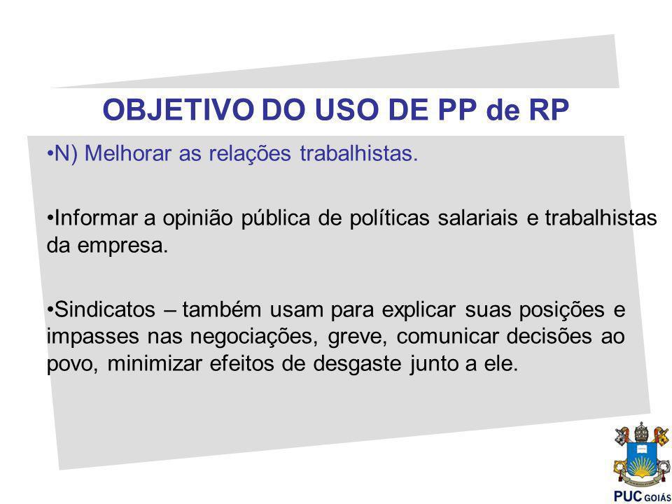 OBJETIVO DO USO DE PP de RP N) Melhorar as relações trabalhistas. Informar a opinião pública de políticas salariais e trabalhistas da empresa. Sindica