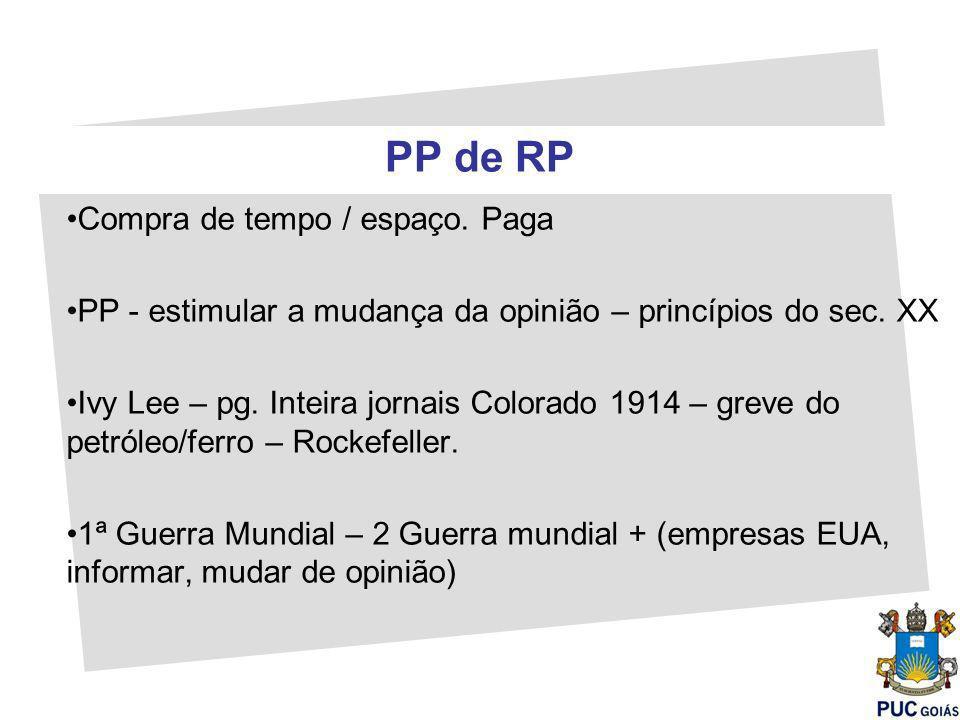PP de RP Compra de tempo / espaço.Paga PP - estimular a mudança da opinião – princípios do sec.