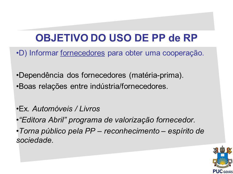 OBJETIVO DO USO DE PP de RP D) Informar fornecedores para obter uma cooperação. Dependência dos fornecedores (matéria-prima). Boas relações entre indú