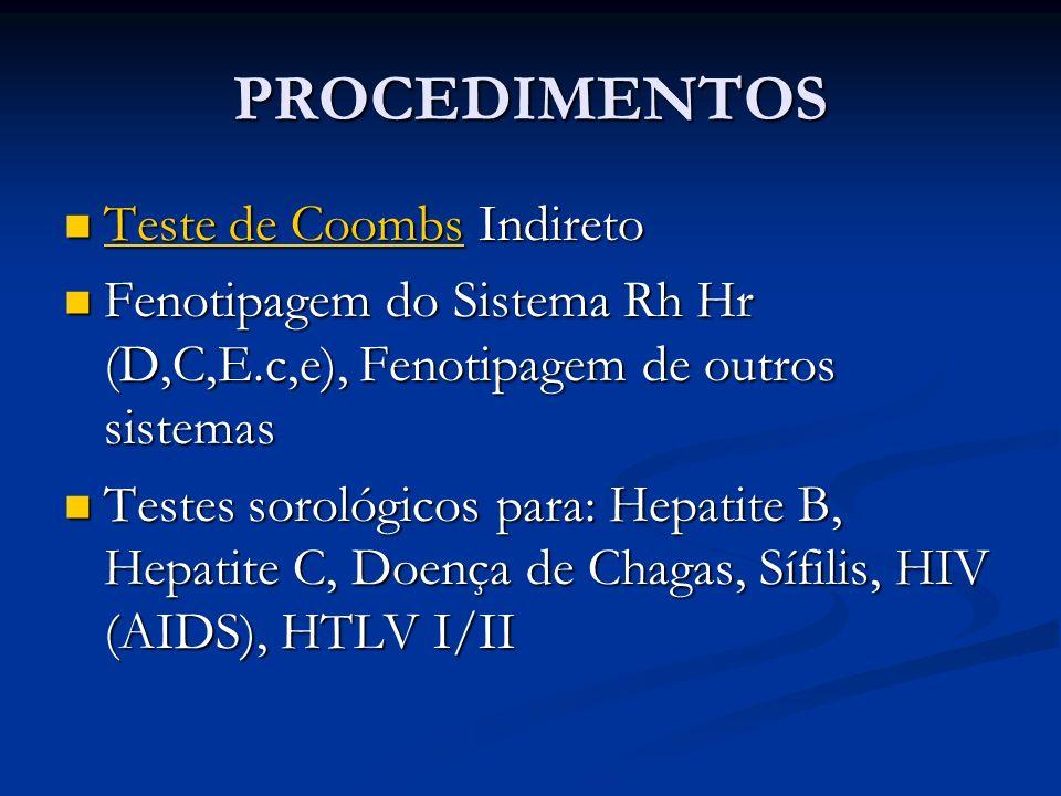 PROCEDIMENTOS Teste de Coombs Indireto Teste de Coombs Indireto Teste de Coombs Teste de Coombs Fenotipagem do Sistema Rh Hr (D,C,E.c,e), Fenotipagem