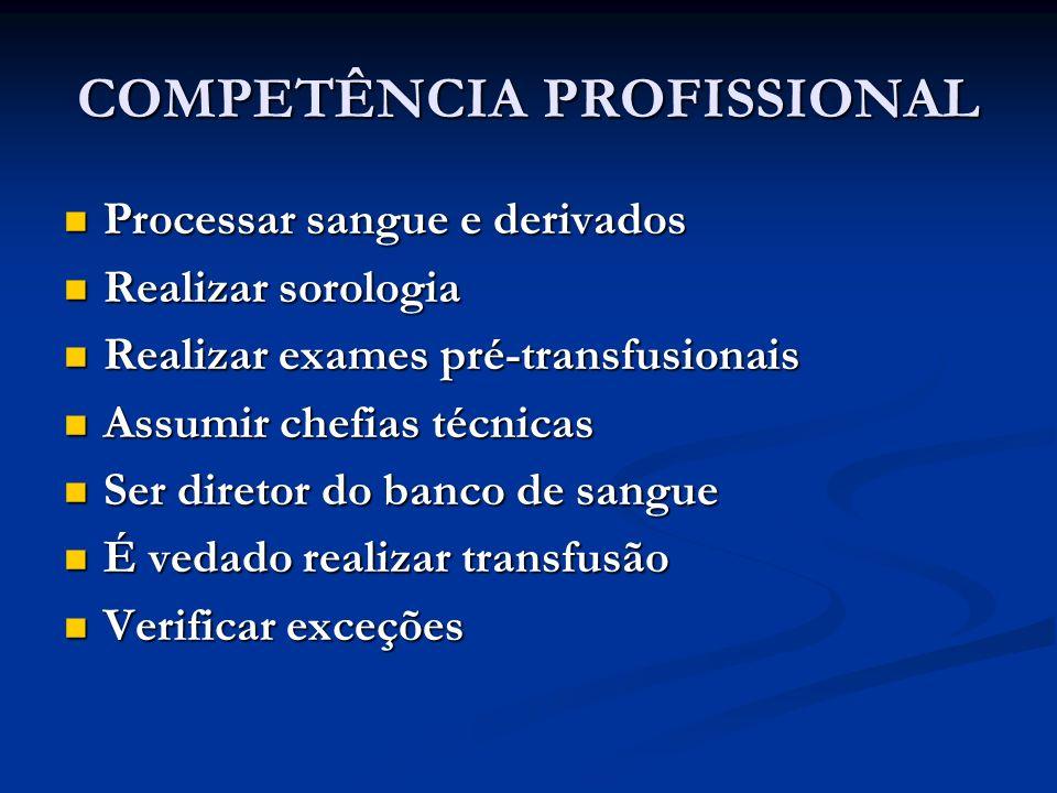 COMPETÊNCIA PROFISSIONAL Processar sangue e derivados Processar sangue e derivados Realizar sorologia Realizar sorologia Realizar exames pré-transfusi