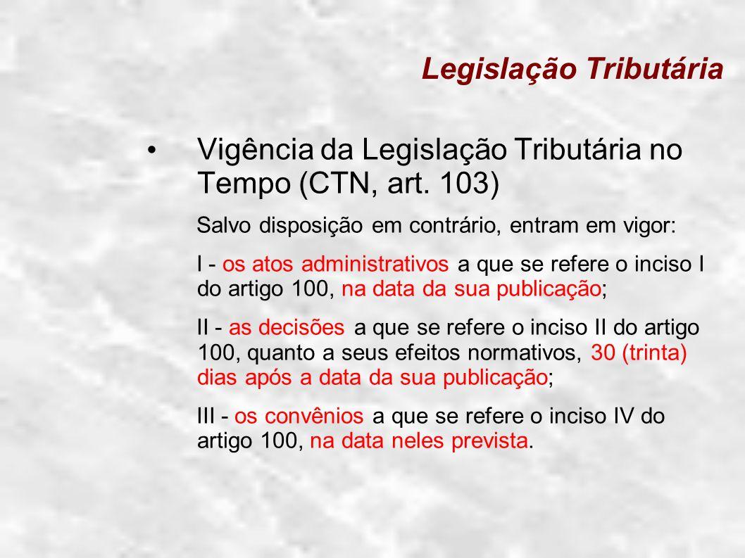 Legislação Tributária Vigência da Legislação Tributária no Tempo (CTN, art. 103) Salvo disposição em contrário, entram em vigor: I - os atos administr