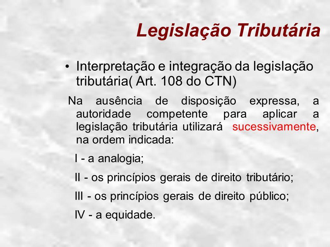 Legislação Tributária Interpretação e integração da legislação tributária( Art. 108 do CTN) Na ausência de disposição expressa, a autoridade competent