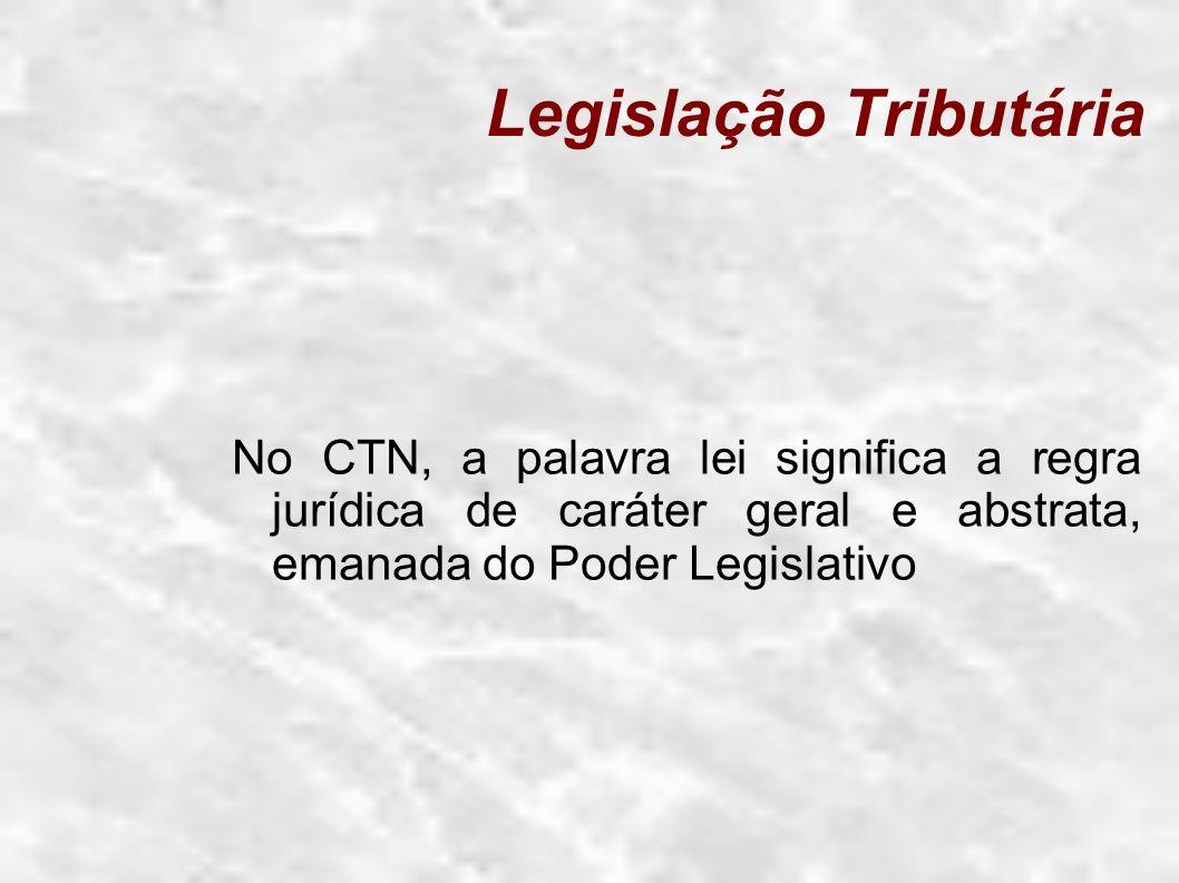 Legislação Tributária Artigo 59 da Constituição Federal: O processo legislativo compreende a elaboração de: I.