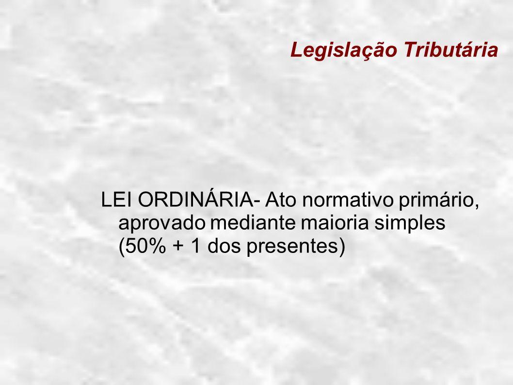 Legislação Tributária LEI DELEGADA : é um ato normativo elaborado pelo chefe do poder executivo, com delegação do Congresso Nacional (art.